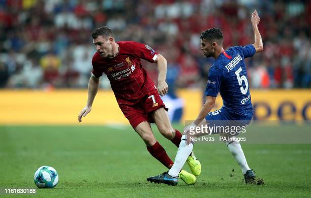 Liverpool's James Milner and Chelsea's Jorginho battle for the ball during the UEFA Super Cup Final at Besiktas Park Istanbul