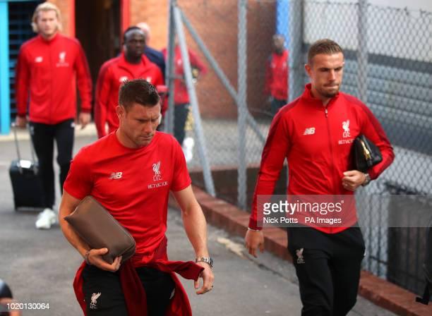 Liverpool's James Milner and Jordan Henderson arrive for the Premier League match at Selhurst Park London