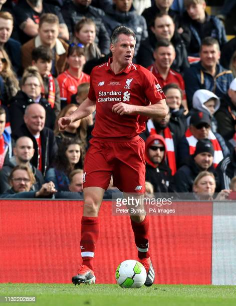 Liverpool's Jamie Carragher during the Legends match at Anfield Stadium Liverpool
