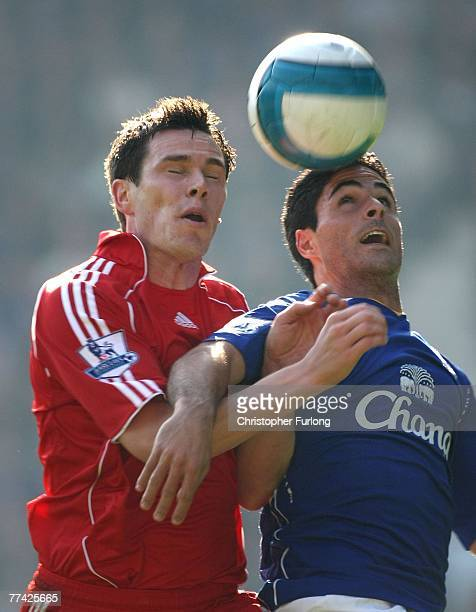Liverpool's Jamie Garragher and Mikel Arteta of Everton duel for the ball during the Barclays Premiership match between Everton and Liverpool at...
