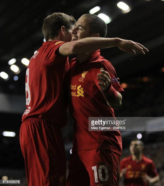 Liverpool's Joe Cole celebrates with teammate Steven Gerrard after scoring his team's second goal