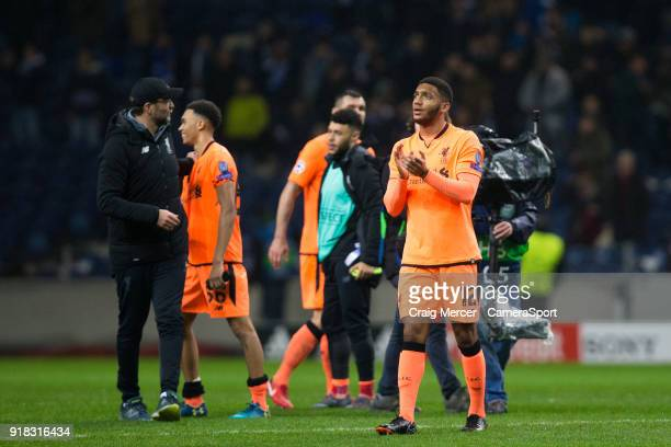 Liverpool's Joe Gomez applauds the fans at the final whistle during the UEFA Champions League Round of 16 First Leg match between FC Porto and...