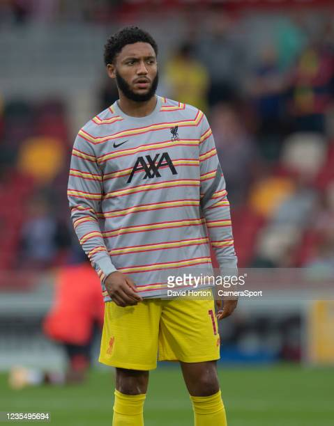 Liverpool's Joe Gomez during the pre-match warm-up during the Premier League match between Brentford and Liverpool at Brentford Community Stadium on...