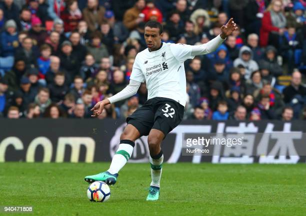 Liverpool's Joel Matip during the Premiership League match between Crystal Palace and Liverpool at Wembley London England on 31 March 2018