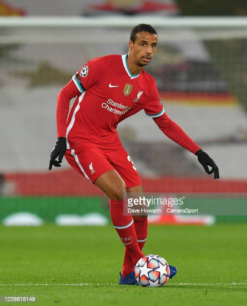 Liverpool's Joel Matip during the UEFA Champions League Group D stage match between Liverpool FC and Atalanta BC at Anfield on November 25, 2020 in...