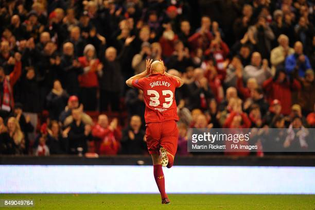 Liverpool's Jonjo Shelvey celebrates scoring his teams first goal of the game
