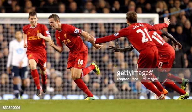 Liverpool's Jordan Henderson celebrates scoring his sides' second goal during the Barclays Premier League match at White Hart Lane London