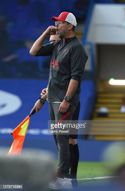 Liverpools Jurgen Klopp during the Premier League match between Chelsea and Liverpool at Stamford Bridge on September 20 2020 in London England