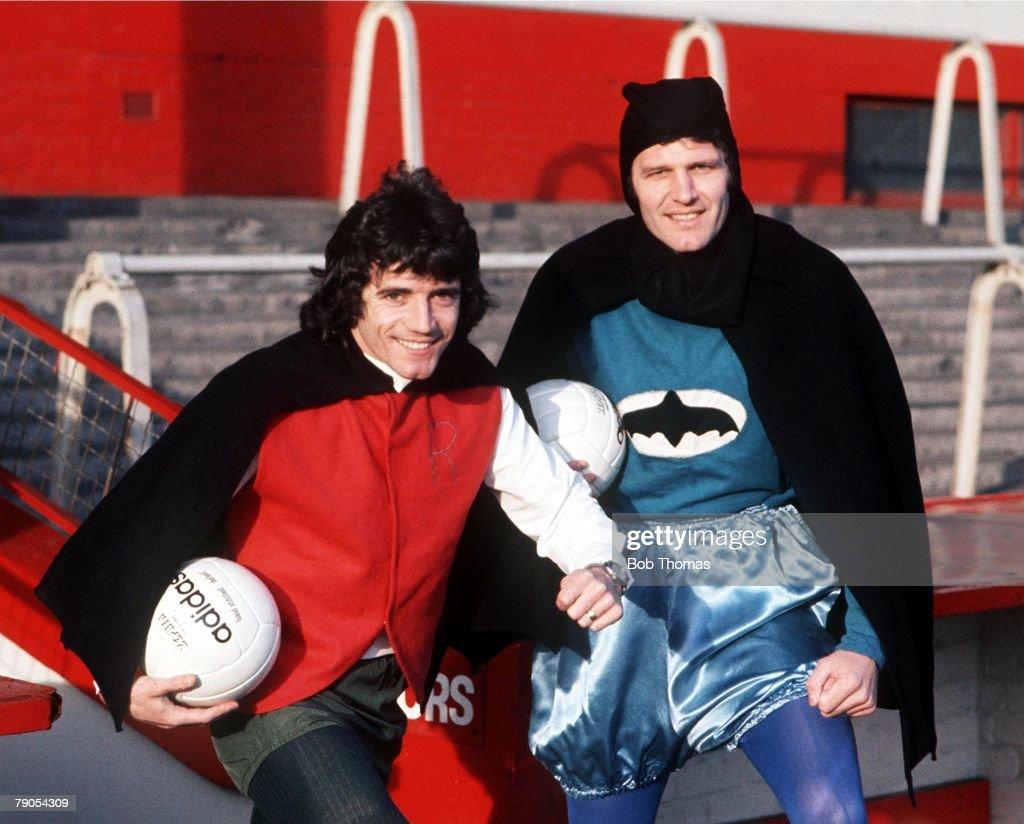 Liverpool's Kevin Keegan and John Toshack dress up as Batman & Robin. : News Photo
