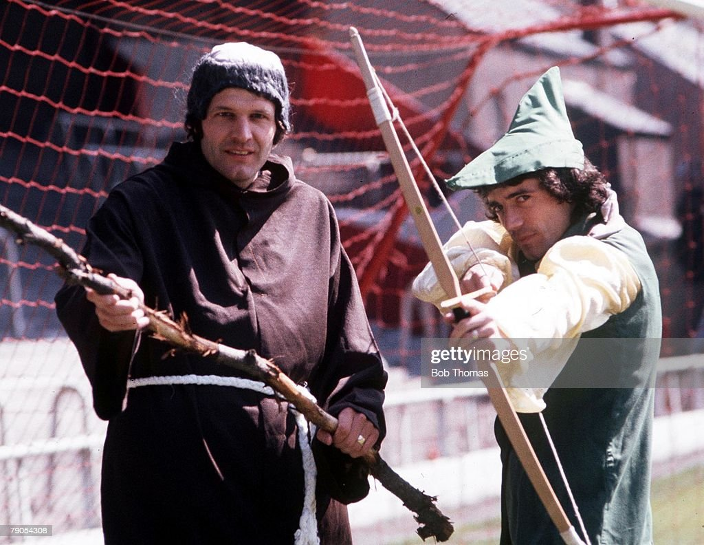 Liverpool's Kevin Keegan and John Toshack dress up as Robin Hood and Friar Tuck. : News Photo