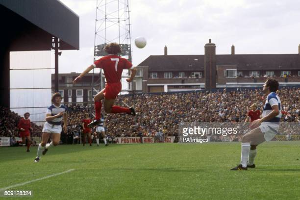 Liverpool's Kevin Keegan heads the ball watched by Queens Park Rangers' Frank McLintock
