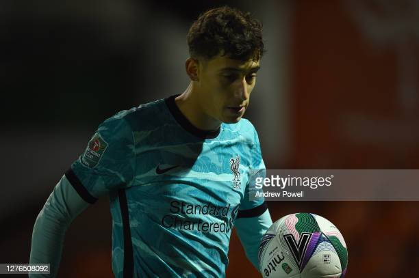 Liverpool's Kostas Tsimikas During the Carabao Cup third round match between Lincoln City and Liverpool at Sincil Bank Stadium on September 24, 2020...