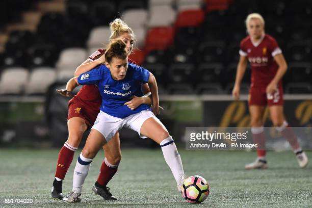 Liverpool's Laura Coombs and Everton's Angharad James compete for possession during the FA Women's Super League match at the Select Security Stadium...