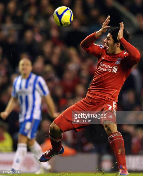 Liverpool's Luis Suarez reacts during the English FA Cup football match between Liverpool and Brighton Hove Albion at Anfield in Liverpool on...