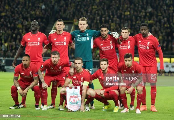 Liverpool's Mamadou Sakho Dejan Lovren Simon Mignolet Emre Can James Milner Divock Origiand Nathaniel Clyne Alberto Moreno Jordan Henderson Adam...