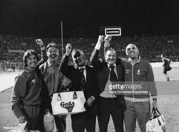 Liverpool's management team celebrate after the European Cup Final between Liverpool and Borussia Monchengladbach at the Stadio Olimpico on May 25,...