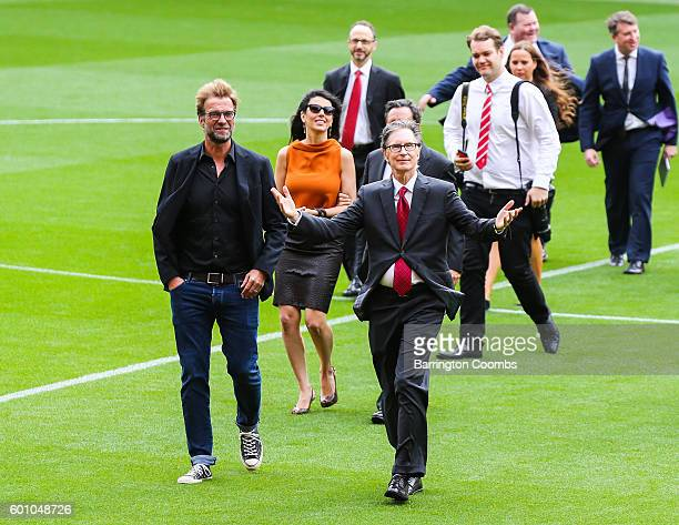 Liverpool's manager Jurgen Klopp and club owner John W Henry during the opening of the new stand and facilities at Anfield on September 9, 2016 in...