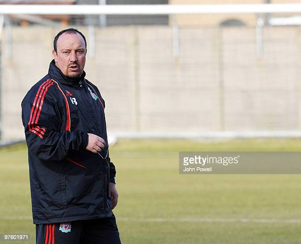 Liverpools Manager Rafael Benitez during a Liverpool FC training session ahead of their UEFA Europa League match against Lille at Melwood training...