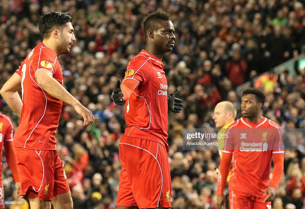 Liverpool's Mario Balotelli celebrates after scoring a goal during the UEFA Europa League Round of 32 match between Liverpool and Besiktas at Anfield Stadium in Liverpool on February 19 2015.