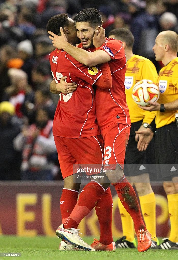 Liverpool's Mario Balotelli (L) celebrates with Jordan Ibe (R) after scoring a goal during the UEFA Europa League Round of 32 match between Liverpool and Besiktas at Anfield Stadium in Liverpool on February 19 2015.