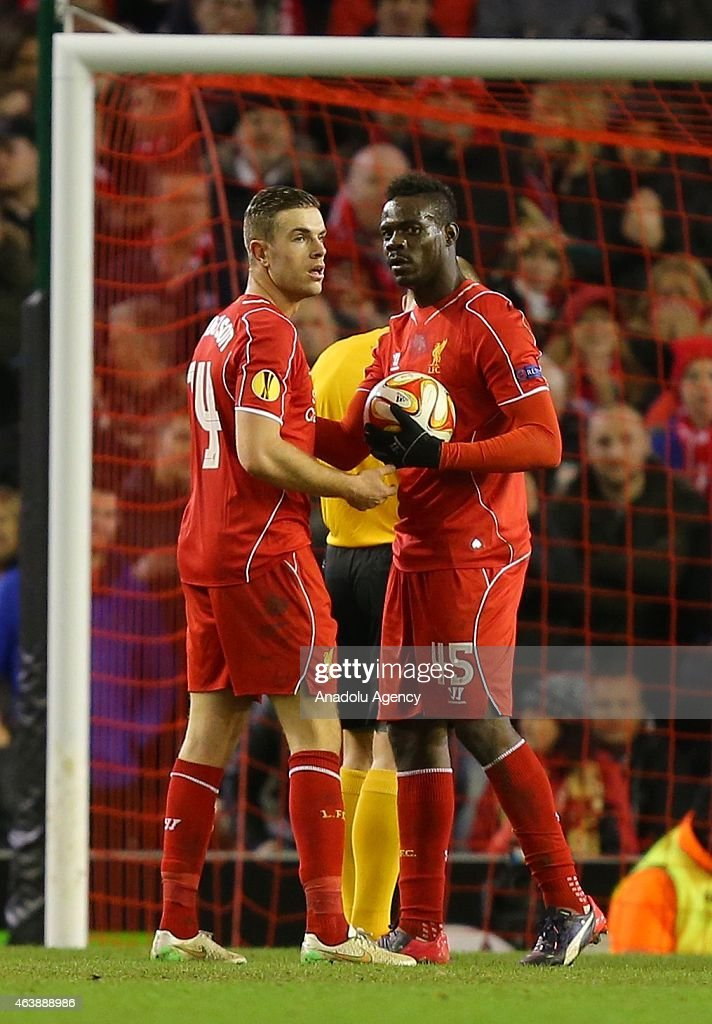 Liverpool's Mario Balotelli (45) takes the ball off regular penalty taker Liverpool's Jordan Henderson during the UEFA Europa League Round of 32 match between Liverpool FC and Besiktas JK at Anfield stadium in Liverpool, England on February 19, 2015.