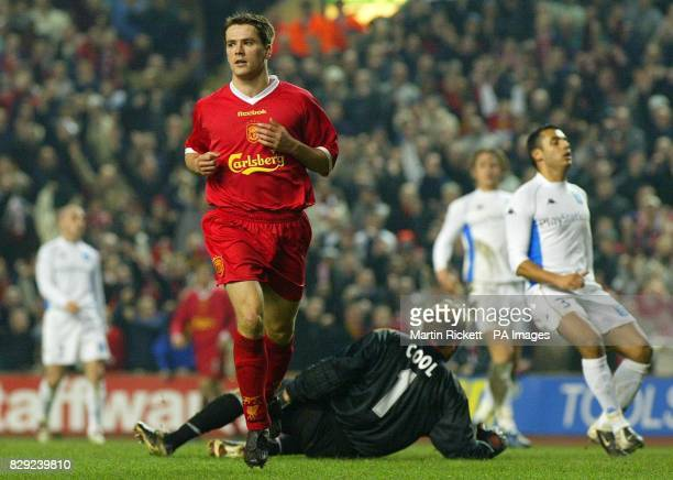 Liverpool's Michael Owen celebrates scoring against Auxerre, during their UEFA Cup, 4th round, 2nd leg match at Anfield, Liverpool. THIS PICTURE CAN...