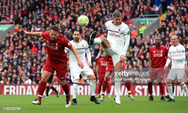 Liverpool's Michael Owen heads at goal during the Legends match at Anfield Stadium Liverpool