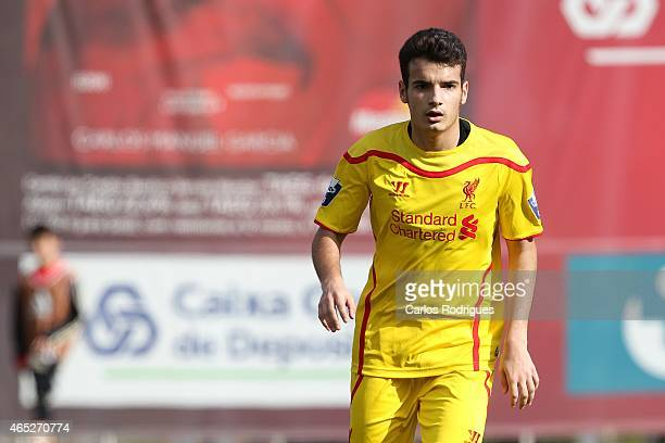 Liverpool's midfielder Pedro Chirivella in action during the UEFA Youth League match between SL Benfica and Liverpool FC on February 24 2015 in...