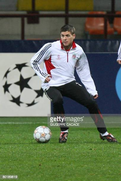 Liverpool's midfielder Steven Gerrard is picture March 10 2008 during a training session at San Siro Stadium in Milan on the day before Liverpool is...