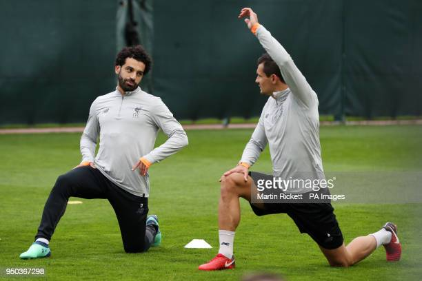 Liverpool's Mohamed Salah and Dejan Lovren during a training session at Melwood Training Ground Liverpool PRESS ASSOCIATION Photo Picture date Monday...