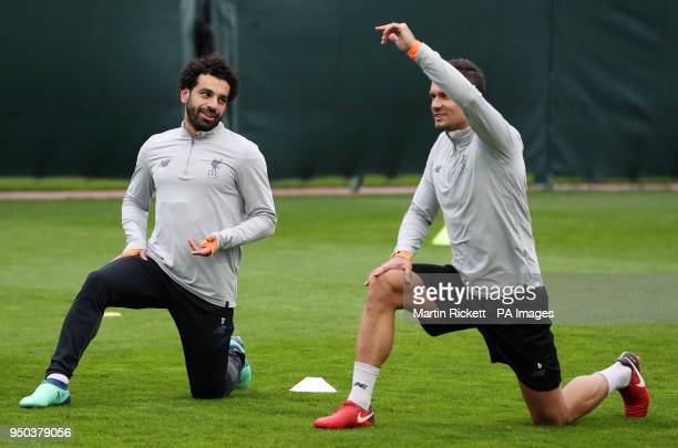 Liverpool's Mohamed Salah and Dejan Lovren during a training session at Melwood Training Ground Liverpool
