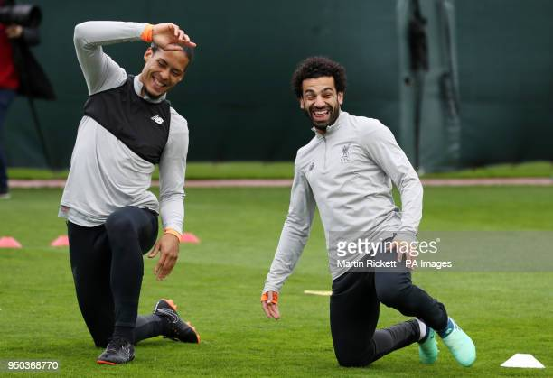 Liverpool's Mohamed Salah and Virgil van Dijk during a training session at Melwood Training Ground Liverpool PRESS ASSOCIATION Photo Picture date...