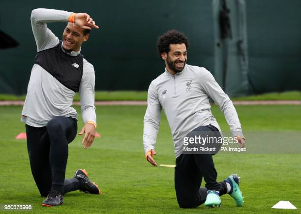 Liverpool's Mohamed Salah and Virgil van Dijk during a training session at Melwood Training Ground Liverpool