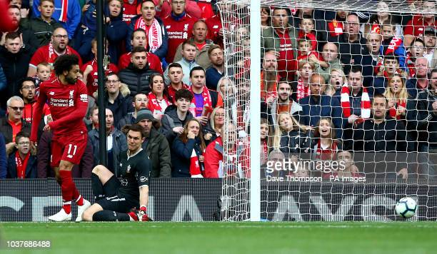 Liverpool's Mohamed Salah attempts a back heel near the Southampton goal during the Premier League match at Anfield Liverpool