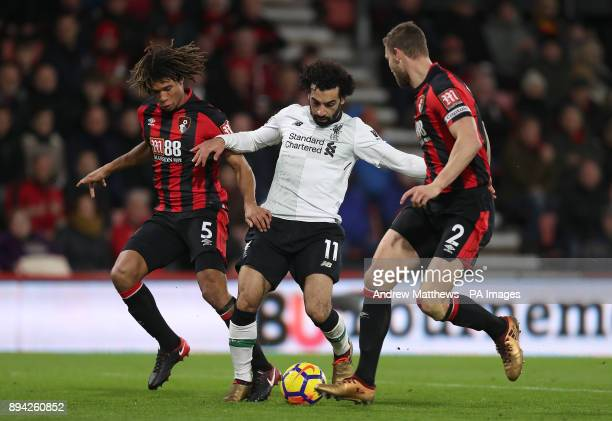 Liverpool's Mohamed Salah battles with AFC Bournemouth's Nathan Ake and Simon Francis during the Premier League match at the Vitality Stadium...