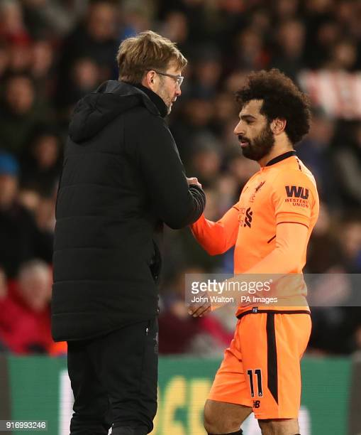 Liverpool's Mohamed Salah comes off for Liverpool's Dejan Lovren during the Premier League match at St Mary's Stadium Southampton