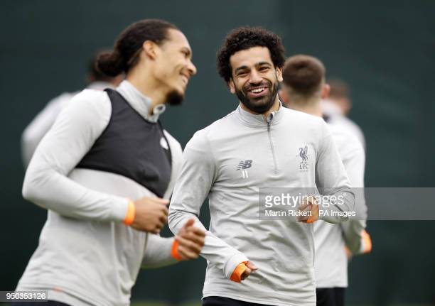 Liverpool's Mohamed Salah during a training session at Melwood Training Ground Liverpool