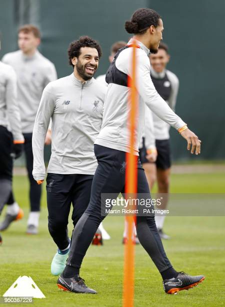 Liverpool's Mohamed Salah during a training session at Melwood Training Ground Liverpool PRESS ASSOCIATION Photo Picture date Monday April 23 2018...