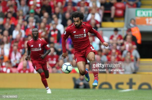 Liverpool's Mohamed Salah during the Premier League match between Liverpool FC and West Ham United at Anfield on August 12 2018 in Liverpool United...