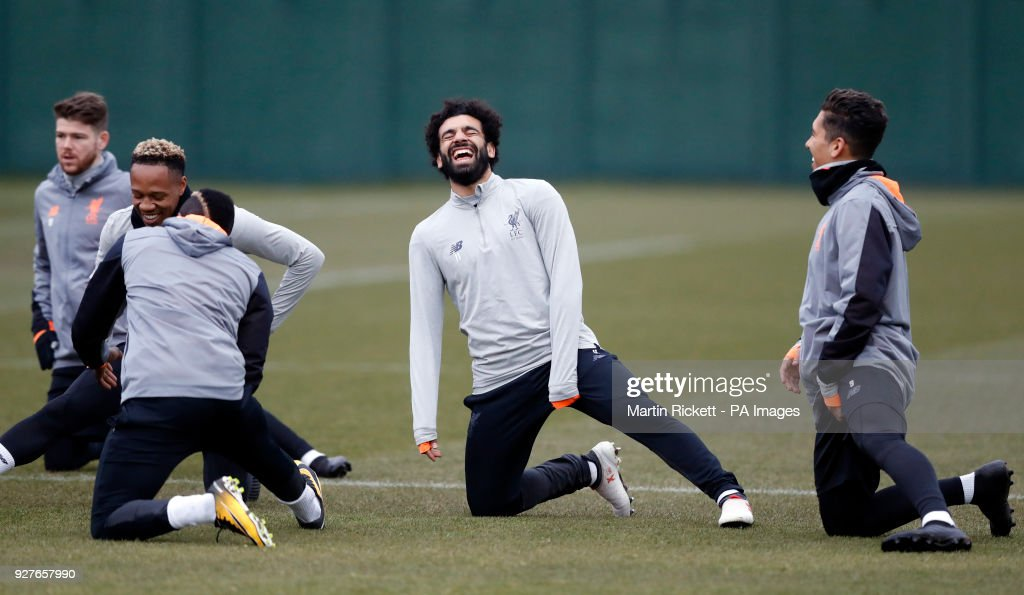 Liverpool's Mohamed Salah during the training session at Melwood, Liverpool.