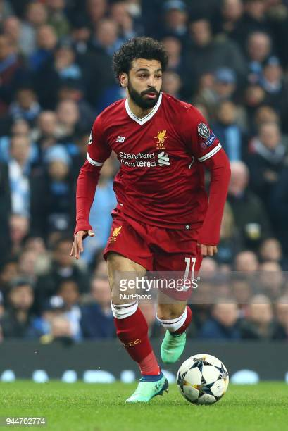 Liverpool's Mohamed Salah during the UEFA Champions League Quarter Final Second Leg match between Manchester City and Liverpool at Etihad Stadium on...