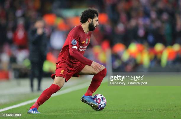 Liverpool's Mohamed Salah during the UEFA Champions League round of 16 second leg match between Liverpool FC and Atletico Madrid at Anfield on March...