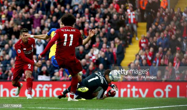 Liverpool's Mohamed Salah has a goal disallowed for offside during the Premier League match at Anfield Liverpool