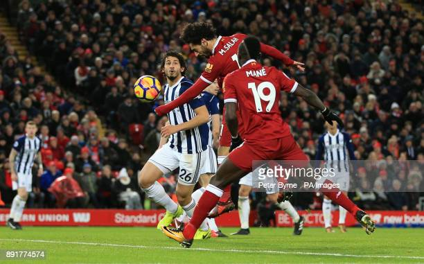 Liverpool's Mohamed Salah heads towards goal during the Premier League match at Anfield Liverpool