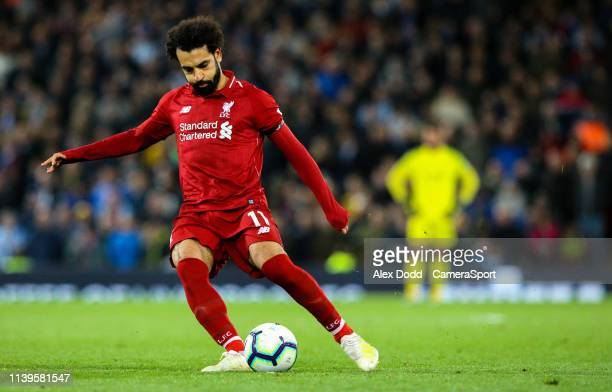 Liverpool's Mohamed Salah in action during the Premier League match between Liverpool FC and Huddersfield Town at Anfield on April 26 2019 in...