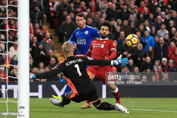 Liverpool's Mohamed Salah misses a chance to score during the Premier League match at Anfield Liverpool