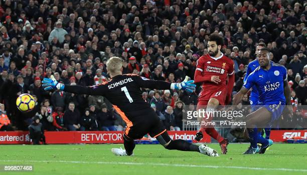Liverpool's Mohamed Salah scores his side's second goal during the Premier League match at Anfield Liverpool