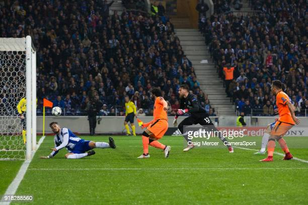 Liverpool's Mohamed Salah scores his side's second goal during the UEFA Champions League Round of 16 First Leg match between FC Porto and Liverpool...