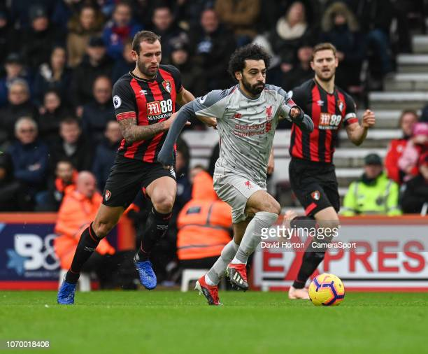 Liverpool's Mohamed Salah under pressure from Bournemouth's Steve Cook during the Premier League match between AFC Bournemouth and Liverpool FC at...