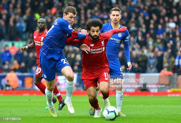 Liverpool's Mohamed Salah vies for possession with Chelsea's Andreas Christensen during the Premier League match between Liverpool FC and Chelsea FC...